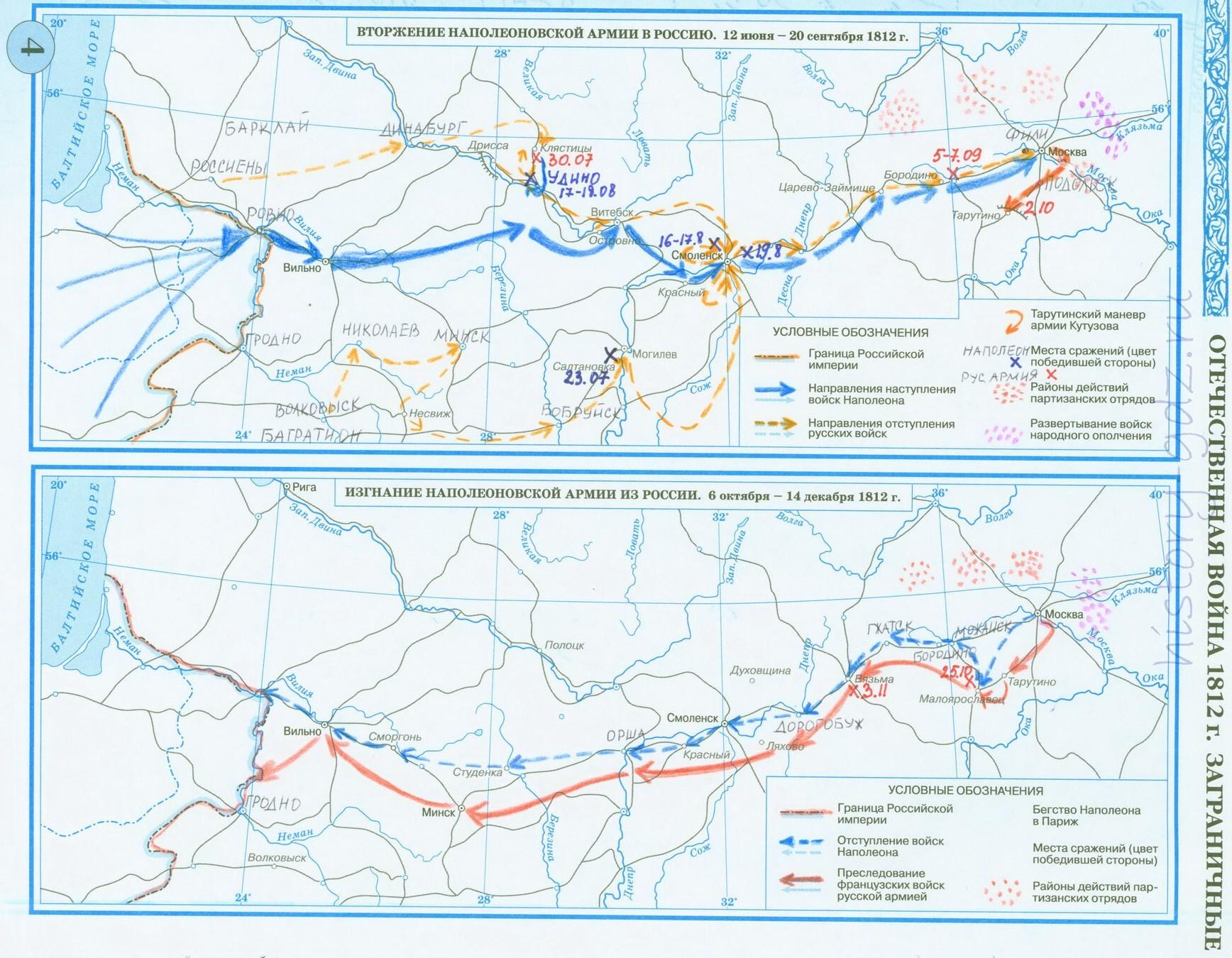 Стр 4 гдз контурная карта 8 класс Дрофа Тарутинский Маневр